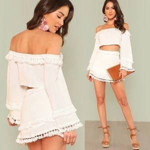 WHITE SET *Skylar + Madison* Skirt & Crop Shirt